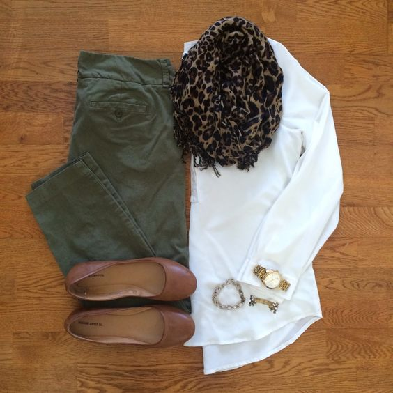 Olive pants + white shirt + brown flats + cheetah scarf + gold accessories