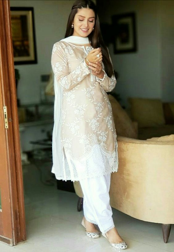 Stitching Styles Of Pakistani Dresses Beige and white Embroidered Shirt
