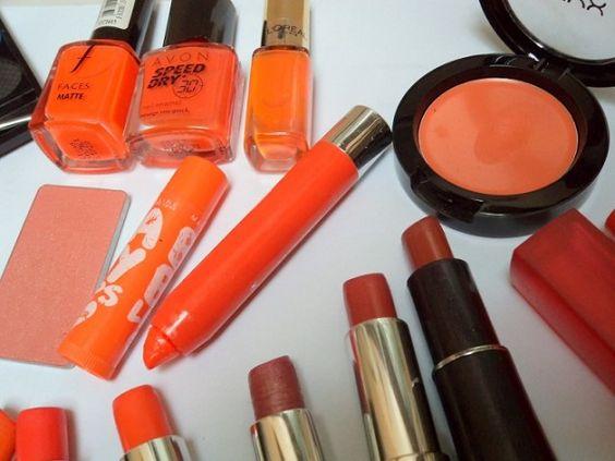 My Orange Makeup Collection: Lipsticks, Eyeshadows, Blushes, Lip Balms, Nail Polishes