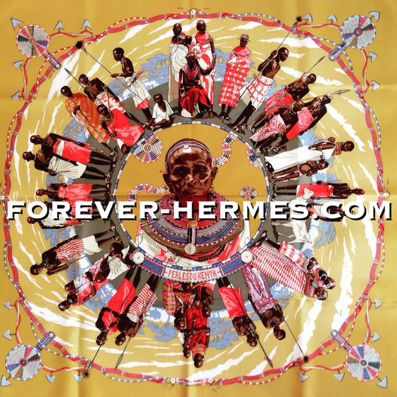 In store! http://forever-hermes.com #ForeverHermes the stunning Hermes Paris couture house's silk scarf titled Perles Du Kenya designed by Dimitri Rybaltchenko featuring the traditional #African #Kenya  #tribal Maasai #Masai #Samburu and their handcrafted #beads #necklace and other accessories, a #hermescarre ready to take you on a world #travel all the way to #Africa for the #HermesParis #dapper #gentleman #hermeslover #WallDecor #MensSuit #menstyle #MensWear #mensfashion #womenswear…