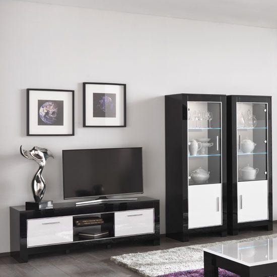 Lorenz Living Room Set In Black And White High Gloss And Led Black White Furniture Living Room Sets Led Furniture