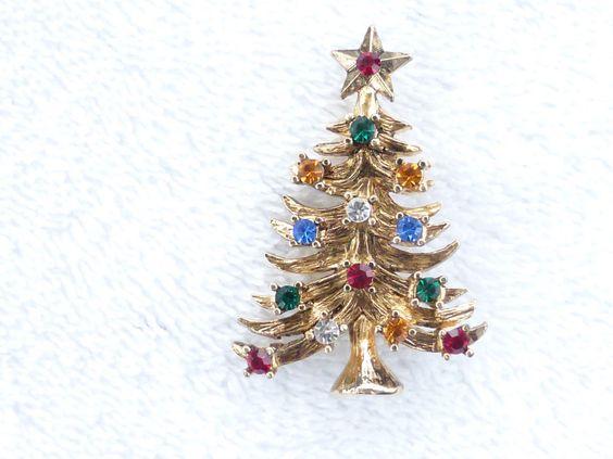 Vintage signed Eisenberg Ice gold tone Christmas Tree brooch figural pin P39 #EisenbergIce