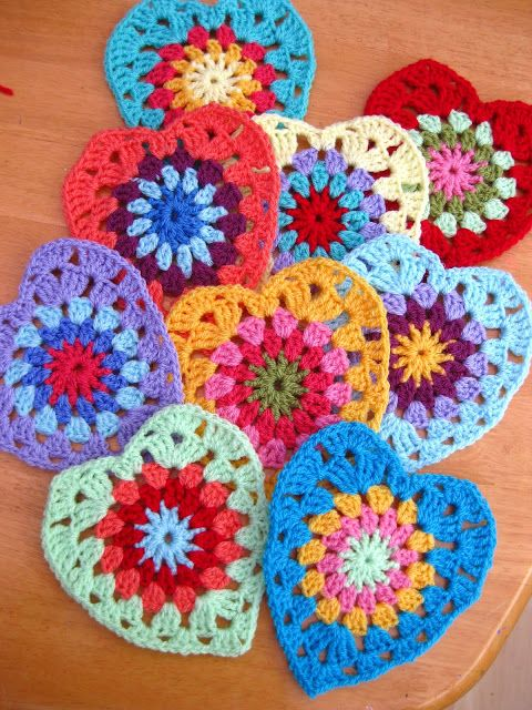 Free Crochet Granny Square Christmas Tree Pattern : Sunburst Granny Hearts pattern---These granny square ...