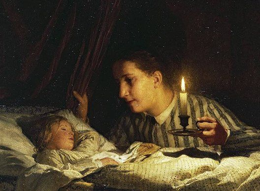 Albert Anker (1831 - 1910), Junge Mutter, bei Kerzenlicht ihr schlafendes Kind betrachtend (Young mother contemplating her sleeping child in candlelight), oil on wood, 36.5 × 46.5 cm, 1875 Albert Anker (1831 - 1910), Young mother contemplating her sleeping child in candlelight, 1875