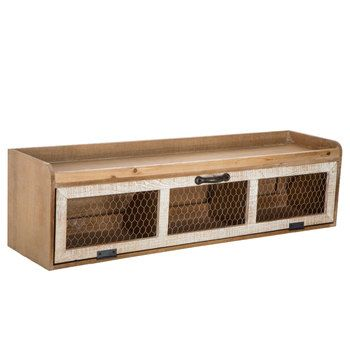 Chicken Wire Wood Wall Shelf With Pull Down Drawer Hobby Lobby 1638790 Farmhouse Kitchen Design Wood Wall Shelf Distressed Wood Wall