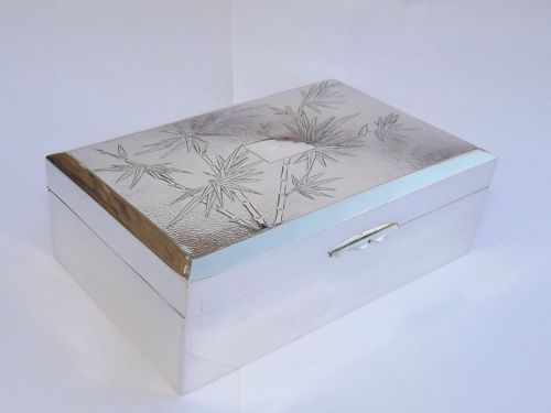 SPLENDID CHINESE EXPORT SOLID SILVER CIGARETTE CIGAR BOX - c1920 in Antiques, Silver, Solid Silver, Boxes | eBay
