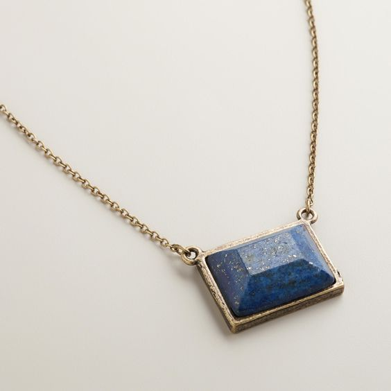 Gold and Blue Square Pendant Necklace | World Market