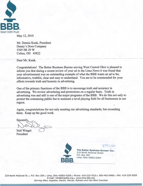 denny door company celina ohio better business bureau letter - company business letter