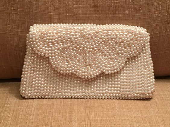 Vintage 60's Ivory Beaded Clutch by Miranda Faux by DartmouthHill