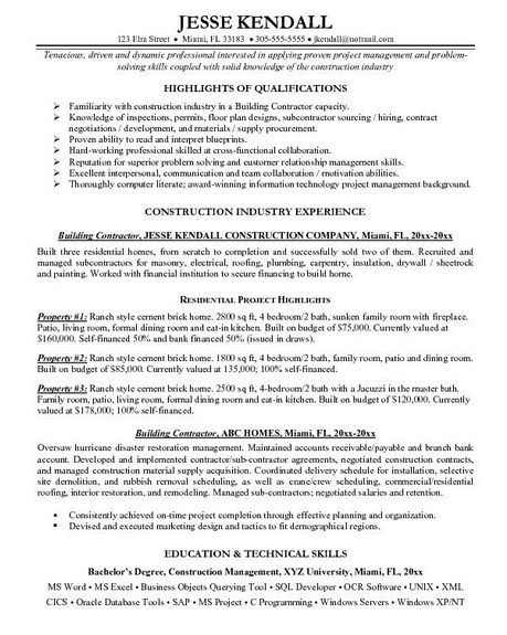 Entry-Level Hotel Housekeeping Resume Template Great ideas - Building Contractor Resume