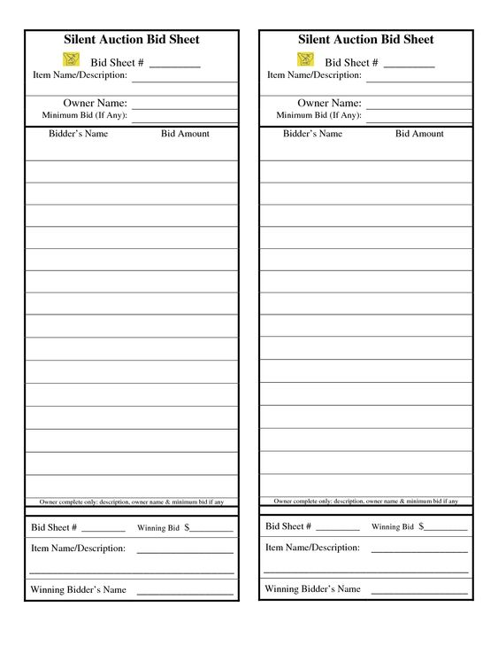 Color coordinate the bid slips with the closing times!! Managing - bid sheet template free