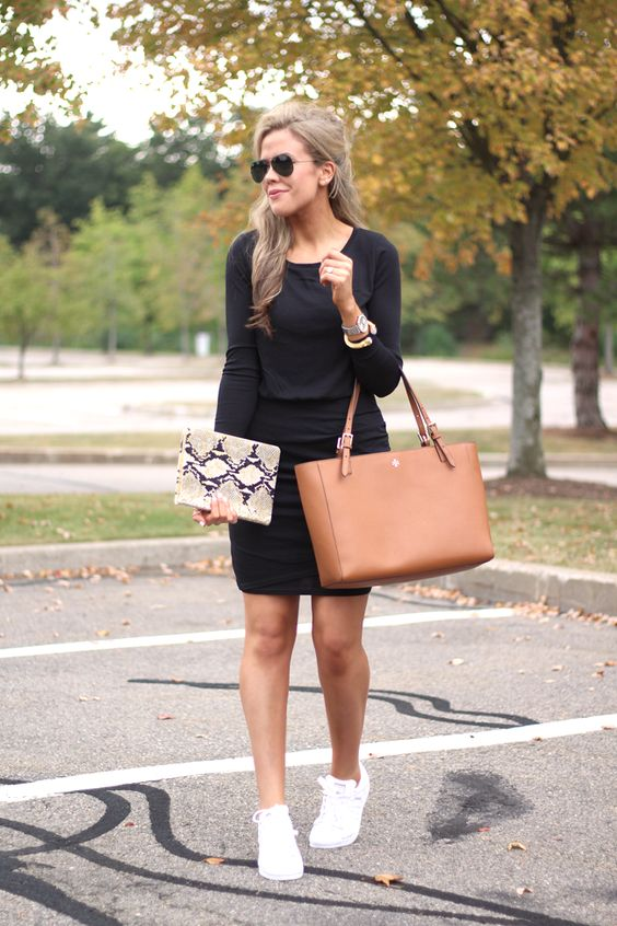 One Affordable Black Knit Dress – Styled Two Ways with a Tory Burch Tote and carrying the best 2017 planner!
