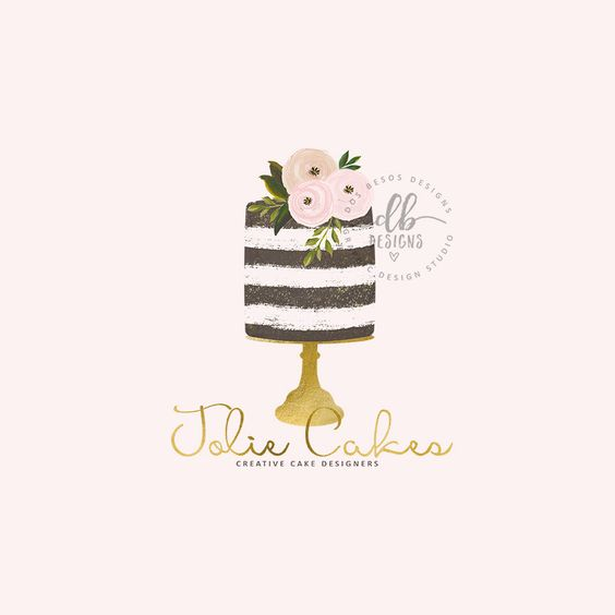 Cake Logo, Premade Logo, Watercolor Floral Cake, Gold, Bakery Logo, Cake Designer Logo Design, Business Logo by DosBesosDesigns on Etsy