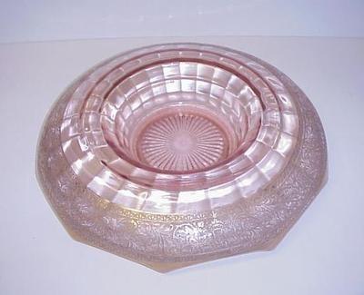 Pink Depression Glass Console Bowl Gold Intaglio Design | eBay