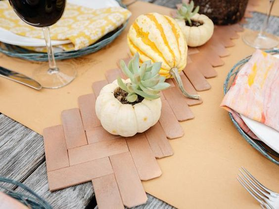 Transform Paint Sticks Into a Herringbone Table Runner (http://blog.hgtv.com/design/2013/11/25/transform-paint-sticks-into-a-herringbone-table-runner/?soc=pinterest)