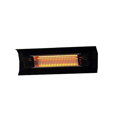 Black Steel Wall Mounted Infrared Patio Heater | Contemporary Weatherproof  Home Indoor / Outdoor Space Heater