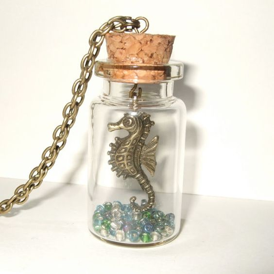 Bottle necklace, seahorse, glass bottle, beads on bronze plated chain: