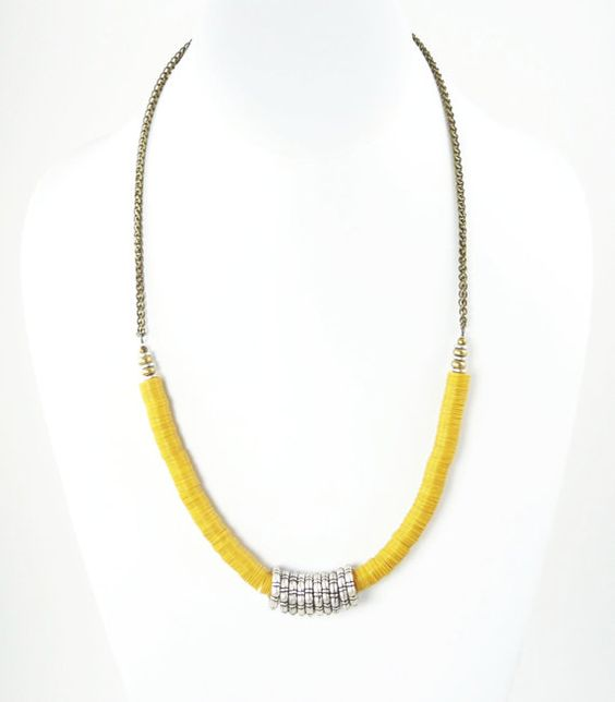 Women's African Yellow Vinyl Disc Beaded Urban Chic Necklace