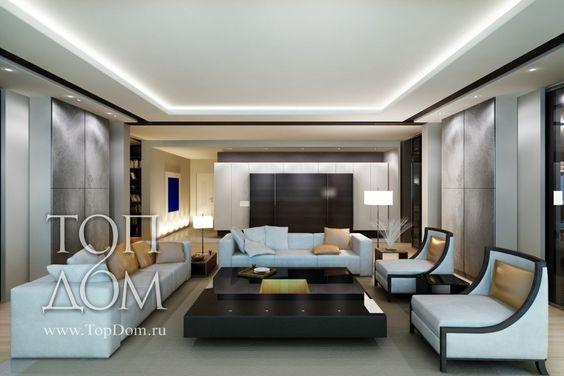 Оформление интерьера гостиной в черно-белых тонах с серыми вставками