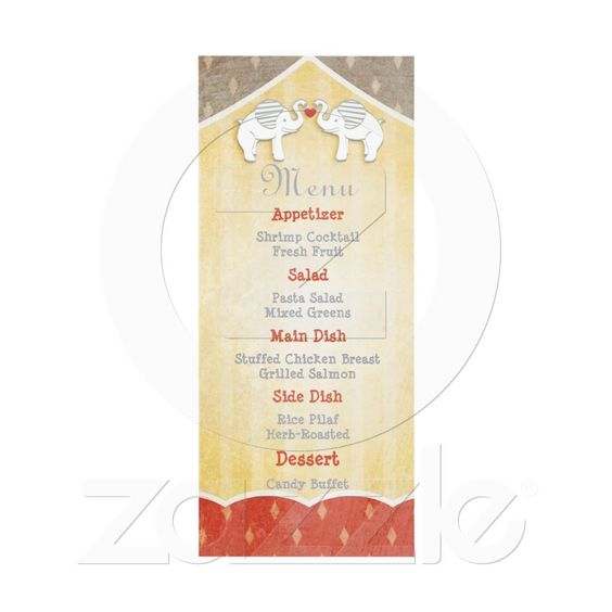 Vintage Shabby Chic Circus Wedding Reception Menu Invite from Zazzle.com