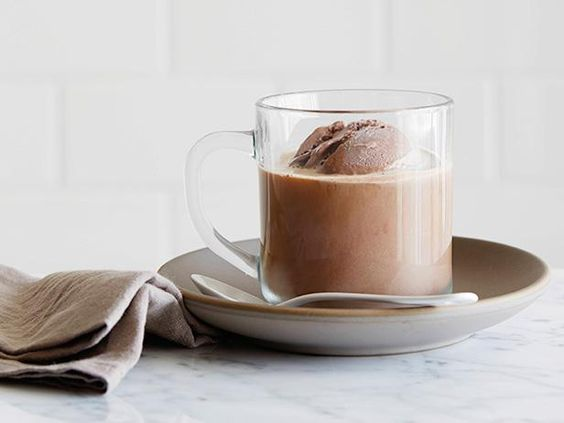 Mocha Float: top 1/2 cup chocolate ice cream with about 1/2 cup hot coffee (about 150 calories)