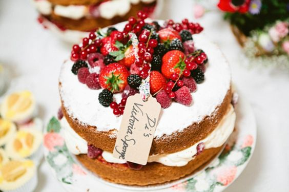 Wonderful victoria sponge with fresh berries and cream