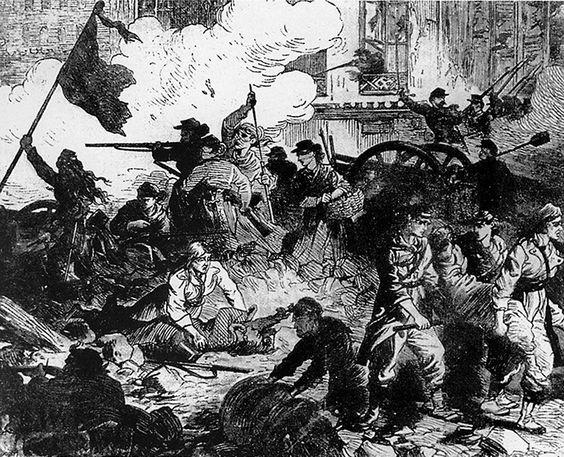 Illustratie van vrouwen op de barricade tijdens de opstand van de commune in Parijs.