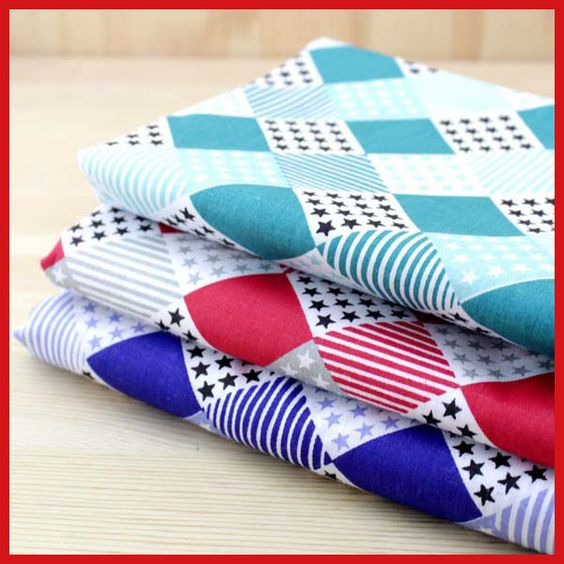 FREE SHIPPING 3 Pieces/lot 50x150cm Assorted SquaresSeries  Cotton sewing Fabric Diy Cloth for Patchwork Quilting Tilda
