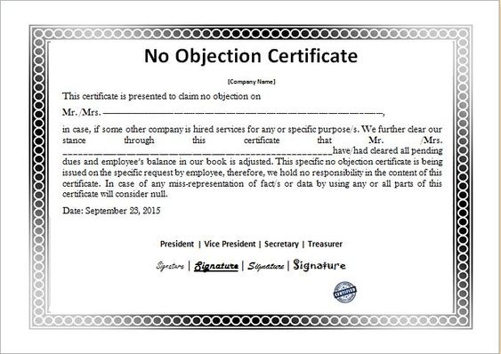 No Objection Certificate Template DOWNLOAD at    www - no objection certificate template