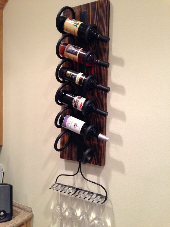 Rustic wall wine rack hang vertical or horizontal with - Wine bottle storage angle ...