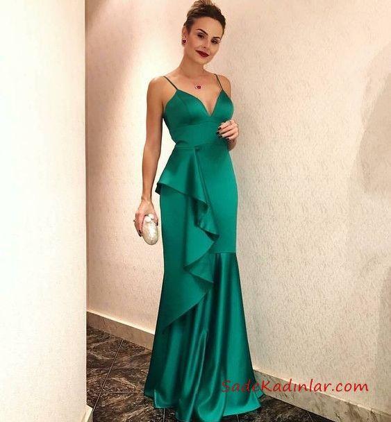 2020 Saten Elbise Modelleri Yesil Uzun Askili V Yaka Firfir Detayli Balo Elbiseleri Aksamustu Giysileri Sifon Mezuniyet Elbisesi