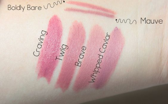 LINER/BODLY BARE: LIP(s): 1) CRAVING; 2) TWIG; 3) BRAVE; 4) WHIPPED CAVIAR