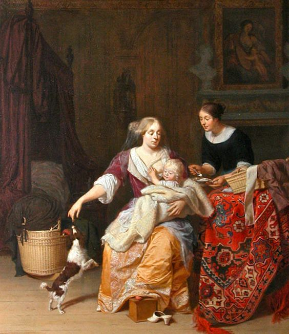 """Mother and baby"" by Jan Verkolje. 1675. Current Location: Louvre Museum, Paris"