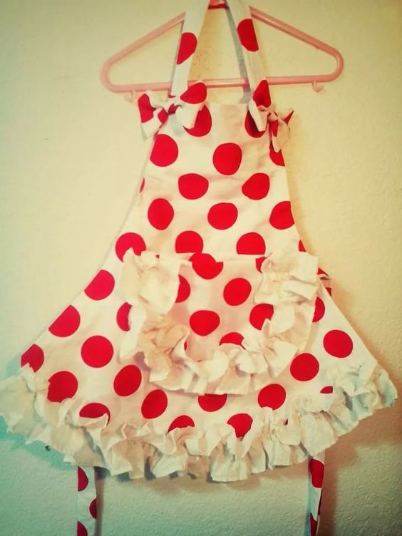 Retro vintage apron for molly child toddler apron play kitchen red and white polka dots