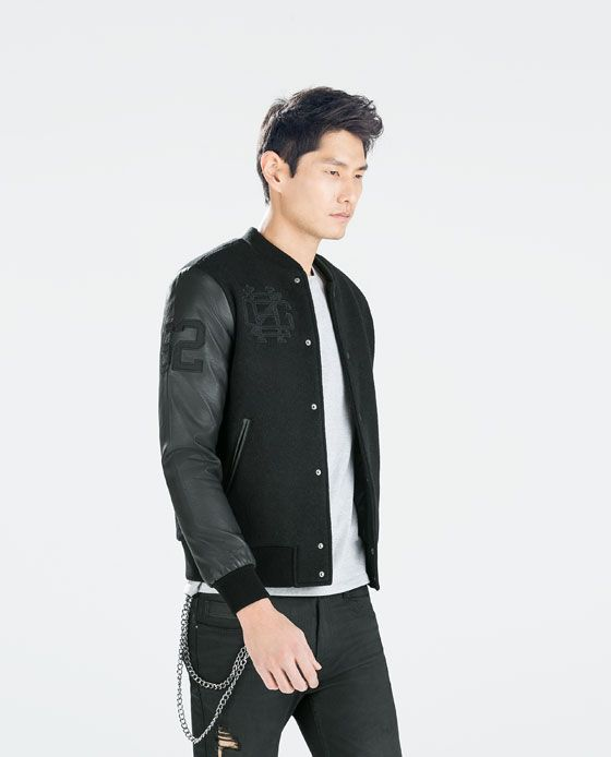 Bomber jacket with faux leather sleeves – Novelties of modern ...
