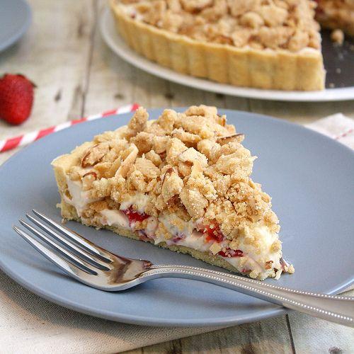 Strawberry cream cheese crumble tart