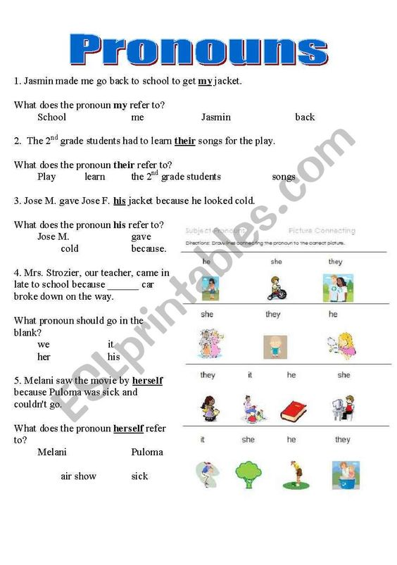 Pronoun Worksheets For 2nd Grade Pronouns Worksheet Y6 Printable Worksheets And Acti In 2021 Kindergarten Reading Worksheets Pronoun Worksheets Kindergarten Worksheets Pronoun worksheets for 2nd graders
