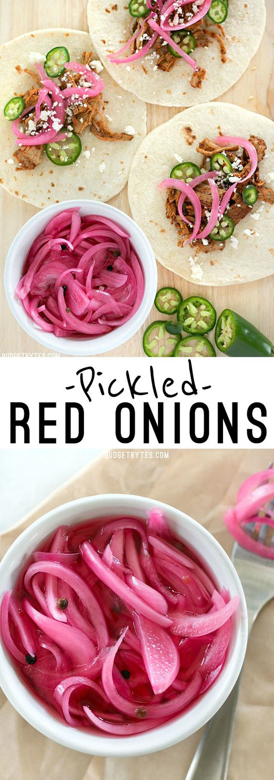 Pickled Red Onions are a great way to use leftover red onion and are a great topping for tacos, sandwiches, pizza, and more. @budgetbytes