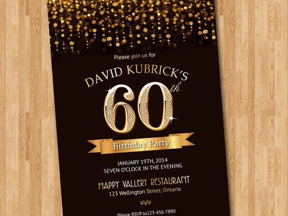 60th Birthday Invitation Gold glitter diamond number birthday – 60th Birthday Invitations Australia