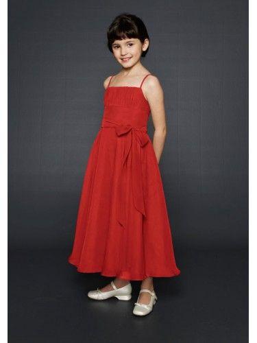 Chiffon Empire Spaghetti Ankle-Length flower A-line Girl Dress