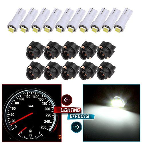 Cciyu 10 Pack 2 2835 Smd T5 Instrument Cluster Indicator Led Bulbs White Light W Twist Lock Replacemen Trailer Accessories Instrument Cluster Light Accessories