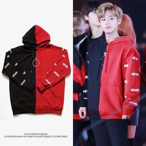 Wanna One Jihoon Never Red Black Hoodie Black And Red Hoodie Red And Black Outfits Black Hoodie