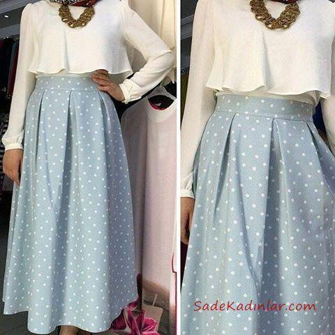 2020 Tesettur Etek Gomlek Kombinleri Mavi Uzun Puantiyeli Klos Etek Beyaz Firfirli Gomlek Kiyafet Islami Giyim Giyim