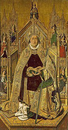 Tabla central del retablo de Santo Domingo de Silos, de Bartolomé Bermejo (Daroca, 1474-1477). Representa al santo entronizado en una estruc...