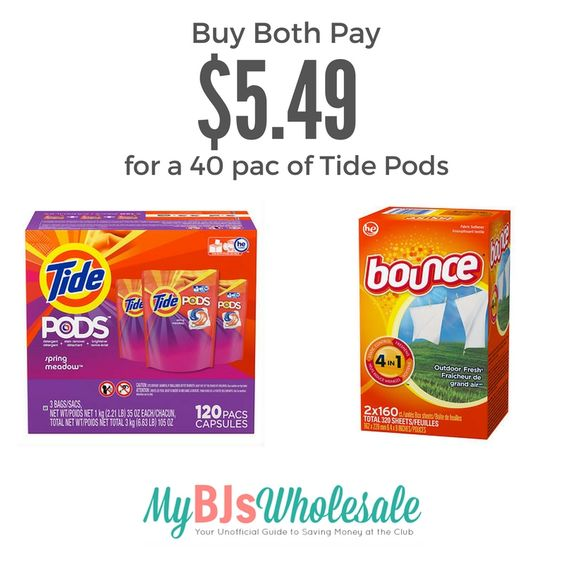 Nice Deal on Tide Pods & Bounce with New Coupon Stack - http://www.mybjswholesale.com/2016/08/nice-deal-tide-pods-bounce-new-coupon-stack.html/