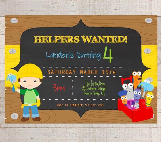 Handy Manny Birthday Party Invitations Handy by myhappylifedesigns – Handy Manny Party Invitations