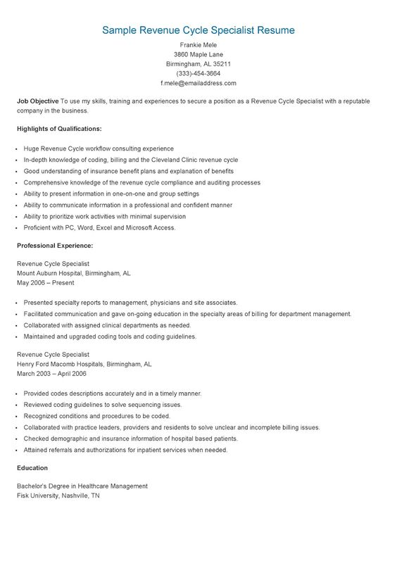 Revenue Cycle Specialist Sample Resume kicksneakers