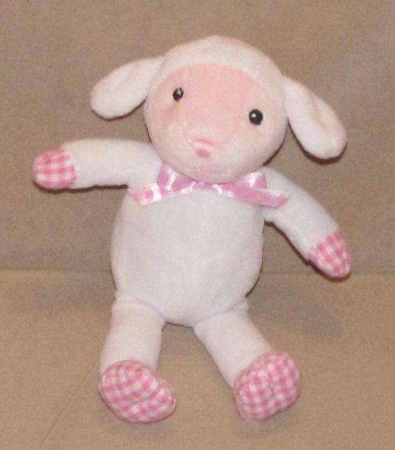 """9"""" Old Navy White Pink Lamb Sheep Gingham Plush Stuffed Animal Girls Baby Toy #OldNavy"""