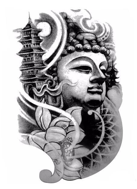 Large Black Temporary Buddha Tattoo Buddha Tattoos Sleeve