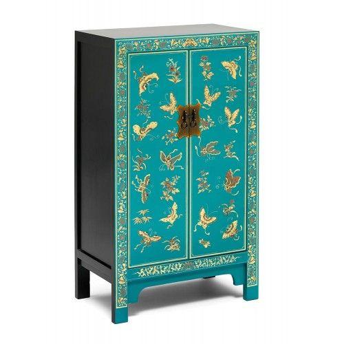 Petit Meuble Chinois Peint A La Main En Bleu Avec Des Motifs De Papillons Feuille De Or Un Meuble Tres Pratique Meubles Orientaux Petit Meuble Meuble Chinois